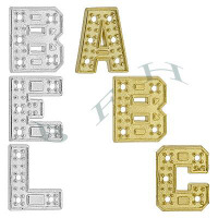 14K Diamond Block Initials 11944-14K Height 8.18mm