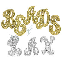 14K Diamond Script Initials 11996-14K Height 10.5mm