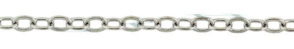 Rhodium Sterling Silver 1.9mm Flat Round Cable Chain 13489-SRH