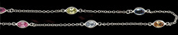 Sterling Multi-Color Oval Bezel Chain 26246-Ss