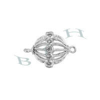 Rhodium Sterling Silver Ball Connector 29391-Ss