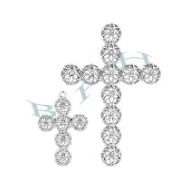 Rhodium Sterling Silver Filigree Cross 29395-Ss