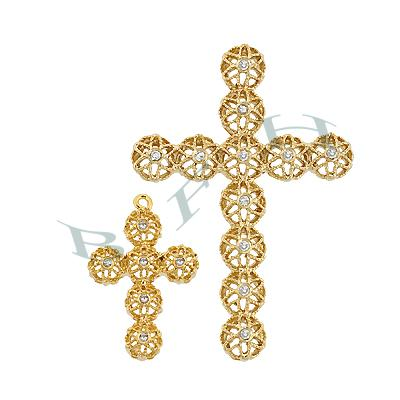Vermeil Cubic Zirconia Filigree Cross 29395-Vm