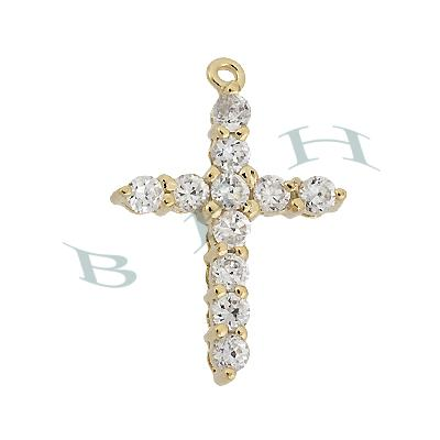 Vermeil Cuibic Zirconia Filigree Cross 29397-Vm